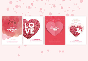 Valentine's Day Card Layout Set with Pink Glitter Heart Illustrations