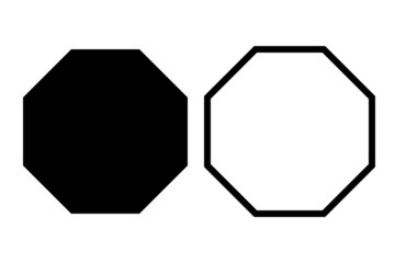 Black octagon icon set of vector geometry polygon