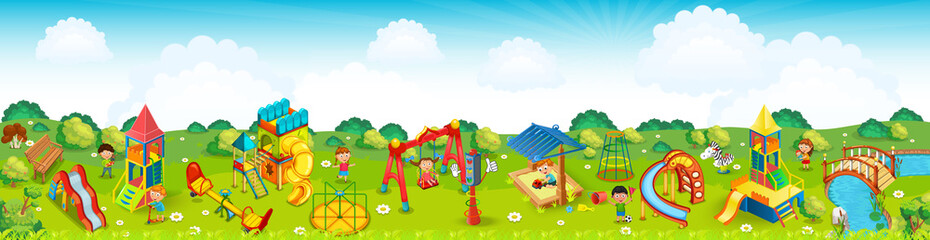 Wall Murals Lime green Panoramic playground on the meadow. Vector illustration.