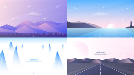 Fototapete - Set of 4 landscapes in flat minimalist style. Forest and mountains, sunset scene with lighthouse, misty peaks, road in perspective with hills. Website or game templates. Summer scene. Tourism concept