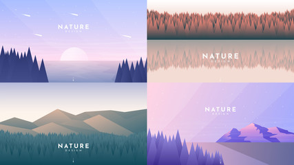 Fototapete - Set of 4 landscapes in flat minimalist style. Trees near water, forest and water, forest and hills, sunset evening scene. Summer scene. Tourism, adventure, travel, journey concept. Vector illustration