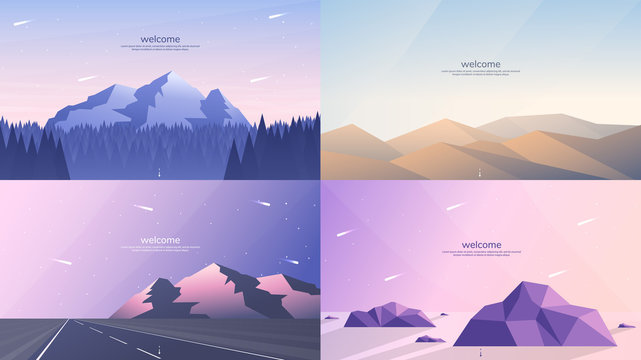 Set of 4 landscapes in flat minimalist style. Forest and mountains, desert mounds, road in perspective and hill, stones in the water in the low poly concept. Website or game templates. Summer scene