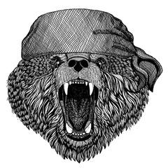 Bear. Wild animal wearing pirate bandana. Brave sailor. Hand drawn image for tattoo, emblem, badge, logo, patch