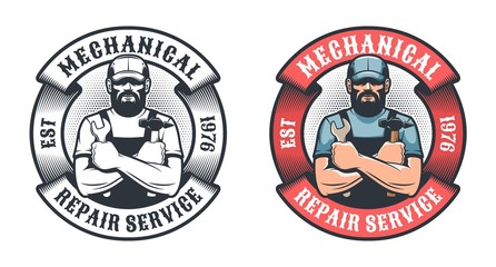 Mechanical repair service retro logo. Worker with hammer and spanner vintage emblem. Vector illustration.