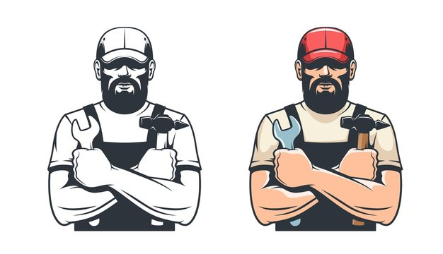 Handy man with hammer and wrench. Repairman mechanic. Retro isolated vector illustration.