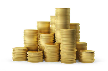Pile of golden coins on a white background. Clipping path included. 3D rendering