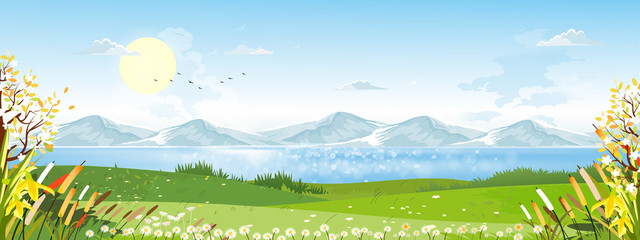 Door stickers Pool Cartoon vector Spring landscape with mountain, .blue sky and cloud, Panorama green fields on sunny day summer,Peaceful nature in springtime with grass land and wild flowers in countryside Uk