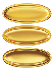 Set of empty golden plates isolated on a white background. Clipping path included.