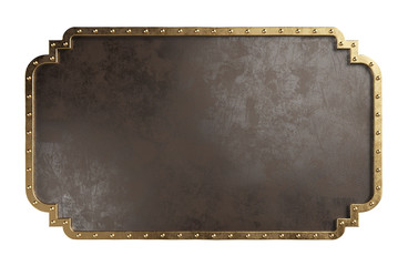 Empty metal plate with brass border, isolated on a white background. Steampunk style. Clipping path included.