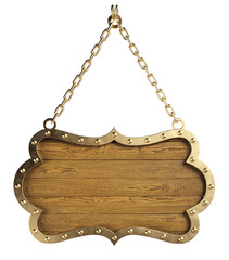 Medieval wooden signboard or shield hanging on chains. Isolated, clipping path included.