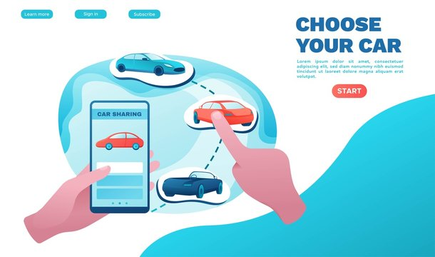 Urban transport landing page concept, carsharing service, rent vehicle by smartphone, businessman order ride, rental service template, mobile app, flat vector ui design, turquoise, red color
