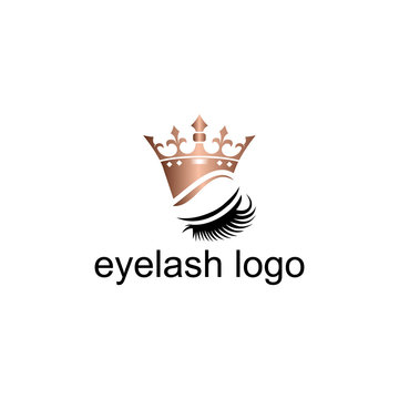 Luxury Beauty Eye Lashes and Crown Logo. Lash and Brow icon.