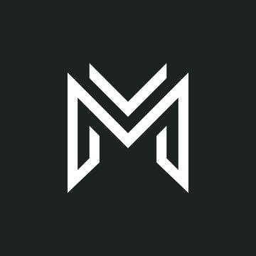 M letter liner logo design