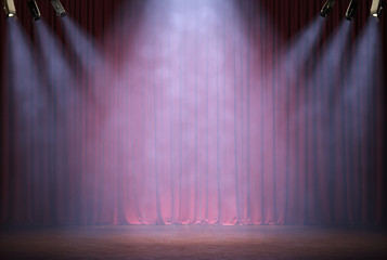 Theater curtains and stage with volume light and smoke. 3d illustration