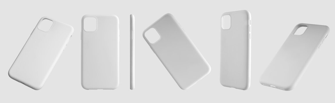 Mockup of white plastic cases for mobile phones, a set of 6 containers in different positions.
