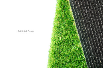 Green artificial turf roll on a white background, copy space.