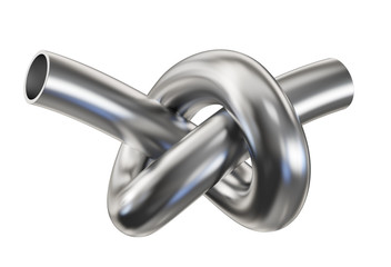 Steel pipe with a knot. Clipping path included. 3d illustration.