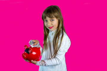 Poster Rose little girl holds money and a cap in her hands, a happy child holds a lot of currency, 2020 trend color landscape