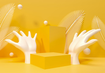Palm Sculpture on yellow template, brand advertising. Palm leaves juicy 3d render illustration. Female hand - podium, pedestal for goods exhibition. Sunny summer background for presentation of brands