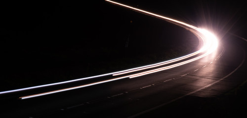 lights of cars with night. long exposure Wall mural