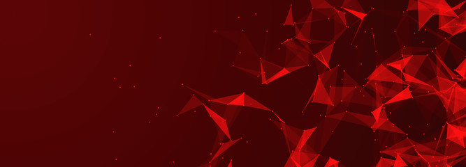 Red abstract polygonal space with connecting dots and lines. Dark background. Connection structure. 3d