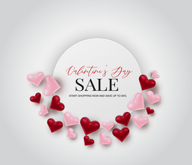 Valentine's day sale. Love 3d hearts in circle design concept banner template background. Vector illustration.
