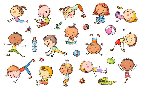 Yoga kids set, vector cliparts, doodle drawings