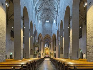 Interior of Turku Cathedral, Finland. The cathedral is the Mother Church of the Evangelical Lutheran Church of Finland. It was consecrated in 1300.
