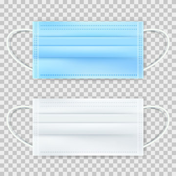 Surgical protective blue and white mask, isolated on transparent background. Vector 3d realistic illustration