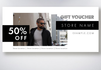Black and White Gift Voucher Layout Set