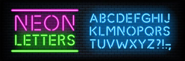 In de dag Hoogte schaal Neon glowing light letters font set collection vector