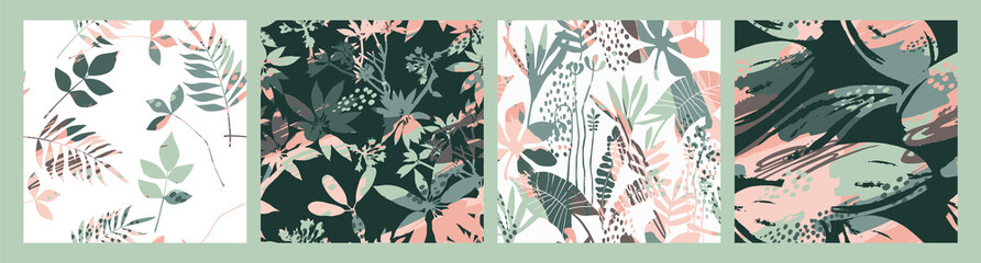 Abstract floral seamless patterns with trendy hand drawn textures