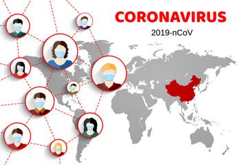 Wuhan coronavirus 2019-nCoV outbreak concept. Coronavirus danger and public health risk disease and flu outbreak. People in respirators on world map background. Vector illustration