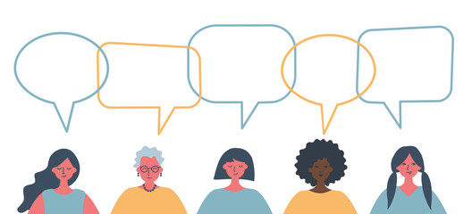 Women's community. International Women's Day concept. People icons with speech bubbles. There are women of different races, different ages in the picture. Vector illustration on a white background