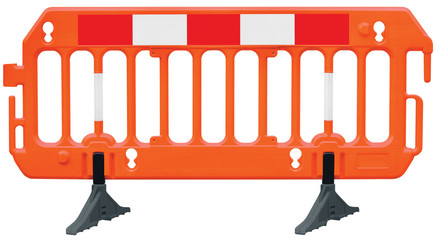Obstacle detour road barrier fence roadworks barricade orange red white luminescent stop signal sign seamless isolated closeup horizontal traffic safety railing warning temporary access reroute block