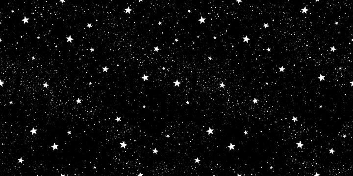 Seamless pattern with stars. Hand drawn stars texture. Night starry sky.