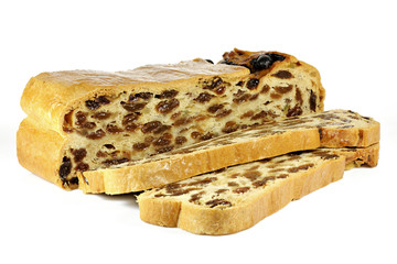 Bremer Klaben, a type of Stollen from Bremen, Germany, isolated on white background