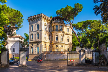 Rome, Italy - Historic XIX century villa in the Janiculum Hill - Gianicolo - within the Trastevere district of Rome