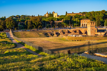 Rome, Italy - Archeological site, ruins remaining of the ancient roman arena Circus Maximus - Circo Massimo