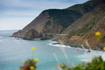 Pacific ocean and California coastline of Big Sur, California.