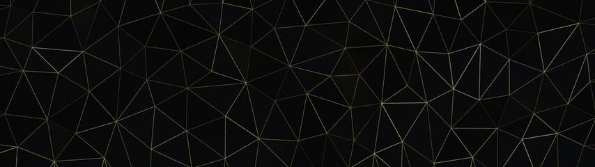 Schwarz Gold - Artdeco Gitzer Dreieck Polygone Streifen - 3D - Illustration Textur Tapete Banner Webseite Hintergrund Panorama 4k Breitbild Fototapete