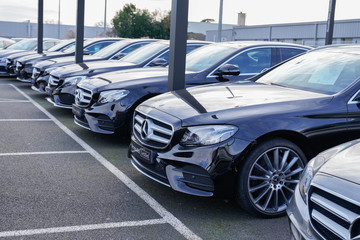 Mercedes Benz amg car dealership shop with park new car second hand vehicle