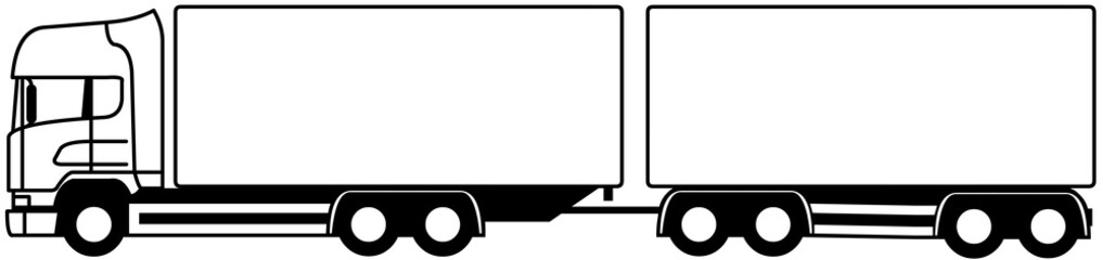 Truck towing a trailer - truck and trailer - vector - truck monochrome - shape - silhouette - profile