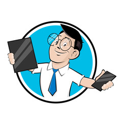 funny cartoon logo illustration of a computer specialist with tablet and smartphone