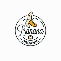 Banana logo. Round linear logo of peeled banana