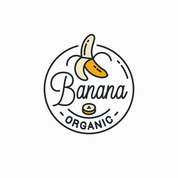 Banana logo. Round linear logo of peeled banana
