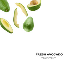Fresh avocado on white background with copy space