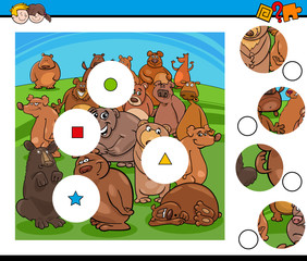 match pieces puzzle with bear characters group