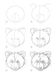 How to draw sketch of imaginary cute bear head. Creation step by step pencil drawing. Education for artists. Textbook for developing artistic skills. Hand-drawn vector on computer by graphic tablet.