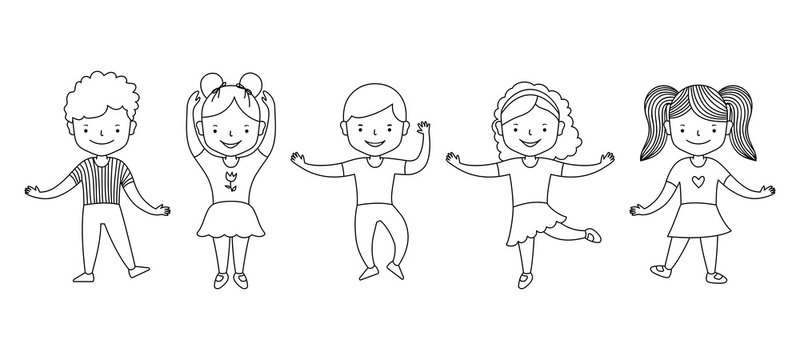 Cute cartoon group of active children girls and boys dancing. Happy funny kids. Big set of vector clipart. Black line on white background. Vector illustration for coloring book
